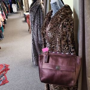 Badgley Mischka bronze leather purse